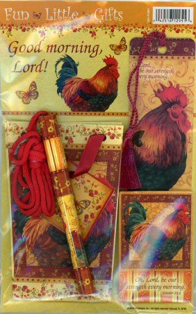 Good morning, Lord! Rooster Magnet, Bookmark, Pen, & Gift Bag Gift Set #12951 -