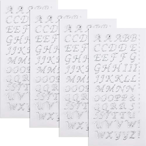 4 Sheets Graduation Cap Decorations Peel and Stick Glitter Alphabet Sticker Letter Stickers for Graduation Cap Supplies (Silver) -