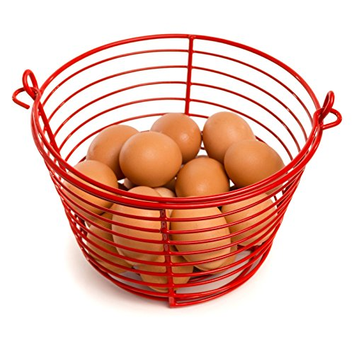 Rocky Mountain Goods Egg Basket - Soft vinyl coating to prevent shell cracking - Holds up to 36 eggs - Carrying handle - Rust proof easy rinse heavy duty design (Red Basket Farm)