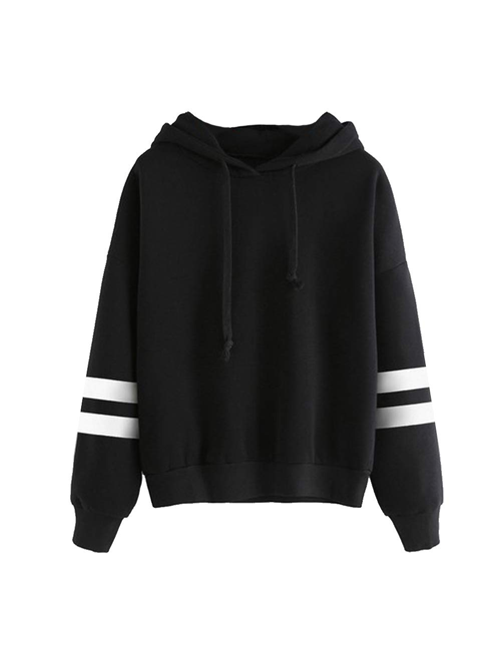 Women Hoodie Sweatshirt Clearance Teen Girls Stripe Long Sleeve Loose Pullover Jumper Sweater Jacket Shirts Tops (Black, S)