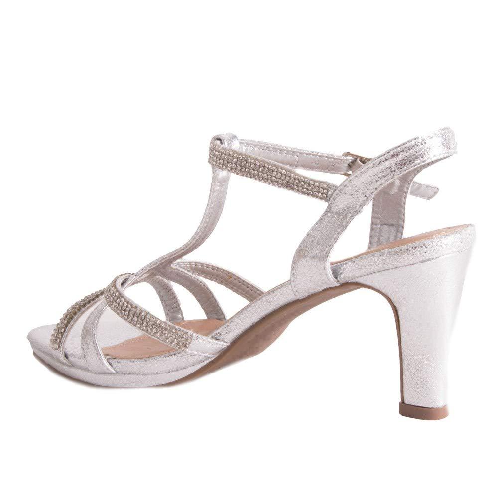 ea458c094b36c4 Chaussure Mariage Femme Sandale argentée & Strass Diamant Talon Bas 7cm à Bout  Ouvert Bride Cheville-: Amazon.fr: Chaussures et Sacs