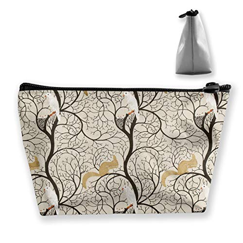 Makeup Bag Cosmetic Squirrel Bird Tree Portable Cosmetic Bag Mobile Trapezoidal Storage Bag Travel Bags with Zipper ()