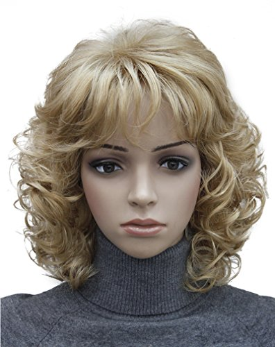 Kalyss Short Blonde Wig with Hair Bangs Women's Curly Wavy Heat Resistant Synthetic Blonde Hair Wigs for Women -