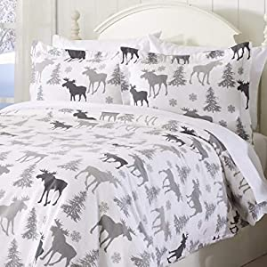 Great Bay Home Extra Soft Printed Flannel Duvet Cover with Button Closure. 100% Turkish Cotton 3-Piece Set with Pillow Shams. Belle Collection (King, Moose)