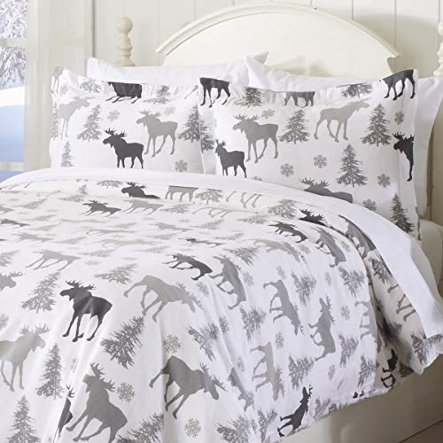 Great Bay Home Extra Soft Printed Flannel Duvet Cover with Button Closure. 100% Turkish Cotton 3-Piece Set with Pillow Shams. Belle Collection (Full/Queen, Moose)