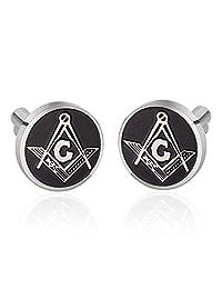 UM Jewelry Mens Stainless Steel Masonic Freemason Shirt Cufflinks