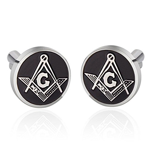 UM Jewelry Mens Stainless Steel Masonic Freemason Cufflinks Compass Enamel 16mm ()