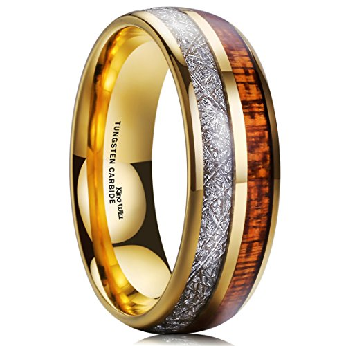 (King Will Meteor Men Wedding Band Gold Plated Domed Tungsten Ring 8mm Imitated Meteorite Koa Wood Inlay Comfort Fit 10.5 )