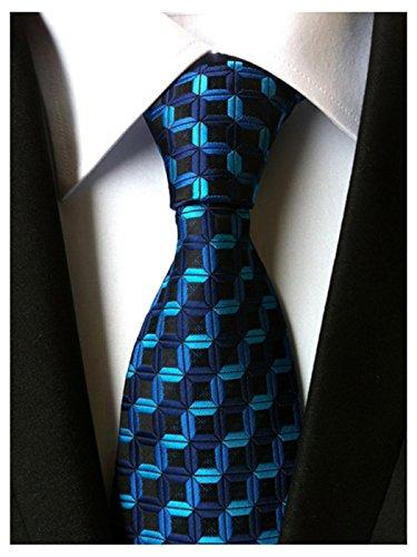 Wehug Men's Classic Tie Silk Woven Necktie Jacquard Neck Ties For Men Navy LD0039 ()