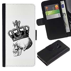 A-type (Corona Blanco Cráneo Negro Bling Rey) Colorida Impresión Funda Cuero Monedero Caja Bolsa Cubierta Caja Piel Card Slots Para Samsung Galaxy S3 MINI 8190 (NOT S3)