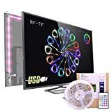 Bias Lighting for HDTV USB Power LED Strip,Waterproof RGB TV Backlight Kit for 60 to 70 Inches Flat Screen TV LCD 4K HD or Desktop PC ,16 Color Changing 24keys Remote Control
