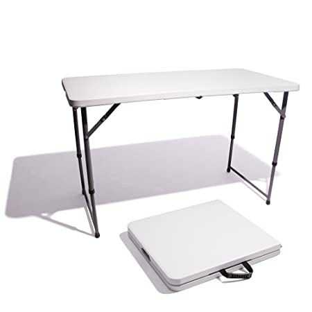 Vispronet Resin Multipurpose Rectangle Table – Center Folding with Locking Legs 4-Feet