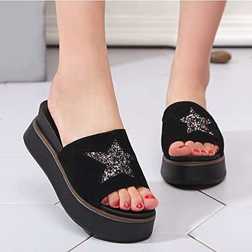 Sandals Outer Black ZCJB Ladies and Wear Slope Summer Slippers Bottom Thick Summer Fashion Slippers pUHpr