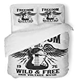 Emvency 3 Piece Duvet Cover Set Breathable Brushed Microfiber Fabric Music Rock Festival and Roll Sign Slogan Graphic for Hard Band Vintage Metal Bedding Set with 2 Pillow Covers Full/Queen Size