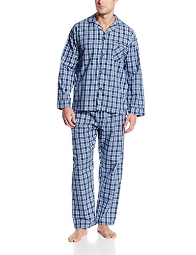 (Hanes Men's Big and Tall Woven Plain-Weave Pajama Set, Navy, Extra Large)