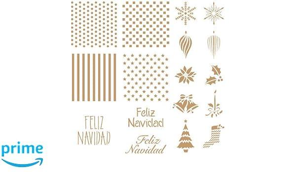 Stencil Deco Fiesta 035 Fondos + Feliz Navidad Medidas aproximadas: Medida exterior del stencil: 20 x 20 cm Medida del diseño: 16 x 16 cm: Amazon.es: Hogar