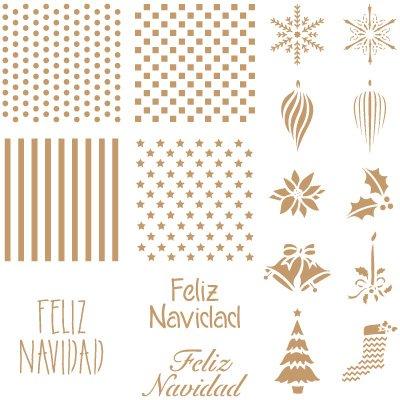 Stencil Deco Fiesta 035 Fondos + Feliz Navidad Medidas aproximadas: Medida exterior del stencil: