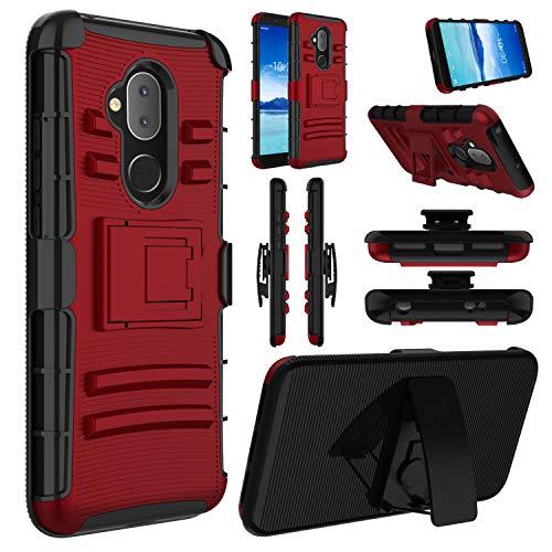 (Alcatel 7 Case, Revvl 2 Plus 2018 Case, Alcatel 7 Folio Case, Hybrid Heavy Duty Full Body Protective Holster Case with Kickstand and Swivel Belt Clip Case for Alcatel 7 2018(Red))