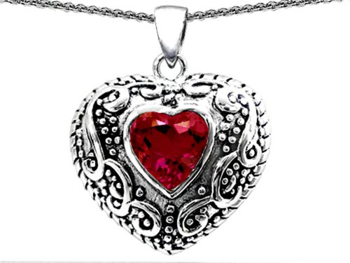 Star K Bali Style Puffed 7mm Heart Created Ruby Pendant Necklace Sterling Silver (Star Sterling Silver Puffed)