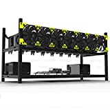 8GPU Open Air Mining Rig Aluminum Stackable Frame Case Cryptocurrency Miners For ETH/ETC/ ZCash Ethereum,Bitcoin,and Altcoins (Black)