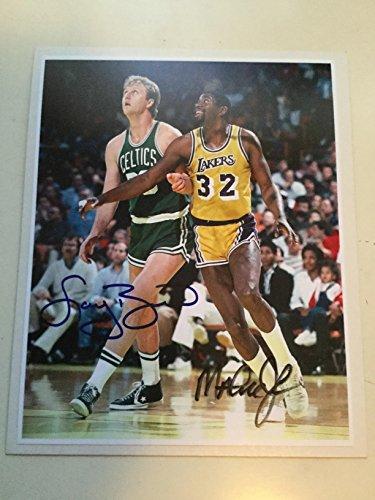 Larry bird/Magic Johnson rare signed 8x10 Photo with ()