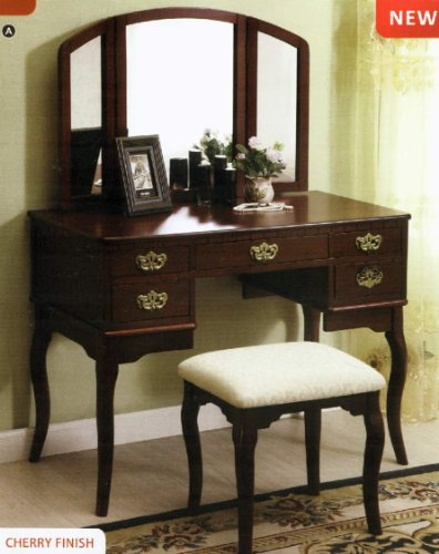 24/7 Shop at Home 247SHOPATHOME IDF-DK6405CH vanities, Brown Cherry Stained Vanity Set