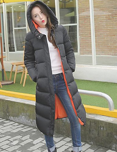 Hooded Orange Long Coat 2XL Women's Padded Red Solid Black GREEN Green Sleeve Street chic YRF CUqTvw