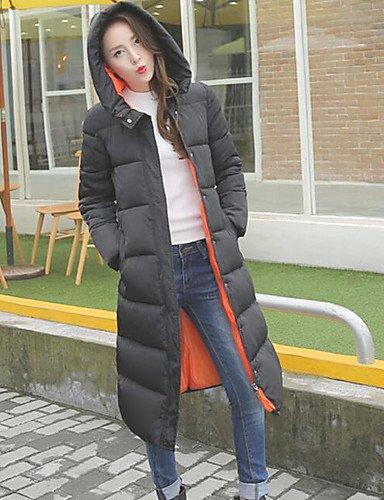 Black XL Orange Padded Long Women's Hooded Street YRF Red Solid Coat Sleeve Green GREEN chic wax6xXtq