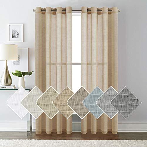 H.VERSAILTEX Pair Set Nickel Grommet Natural Linen Semi-Sheers, Light Filtering Premium Soft Rich Linen Curtain Panels for Living Room/Bedroom/Patio Sliding - 52x84 -Inch-Tan