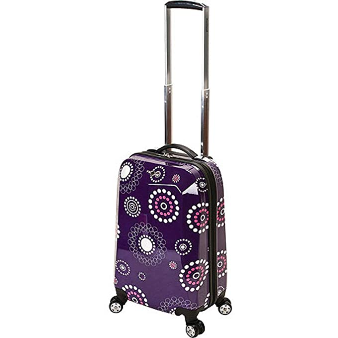 681750165f8 Amazon.com   DH Girls Dark Purple Pink White Floral Dots Theme Carry On  Luggage Hardtop Hardside Roller Wheel Set, Girls All Over Multi Flower Polka  Dot ...