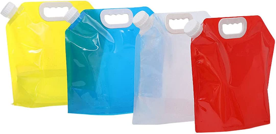 Bisgear Collapsible Emergency Water Jug Container Bag - BPA Free Food Grade Clear Plastic Storage for Camping Hiking Backpack Riding , No-Leak Freezable Foldable Water Bottle 1.3 Gallon 4Pack (4 Pack)