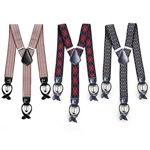 BMC 3pc Mens Elastic Adjustable Strap Y-Back Button End Suspenders with Clip