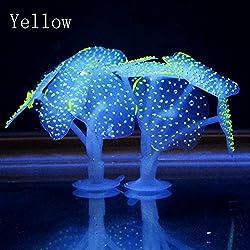 Muranba Aquarium Fish Tank Fluorescent Soft Silica Gel Coral (yellow)