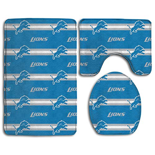 Sorcerer Custom Colorful Doormat American Football Team Detroit Lions Indoor Bathroom Anti-Skid Mats,3 Piece Non-Slip Bathroom Rugs,Non-Slip Mat Bath + Contour + Toilet Lid