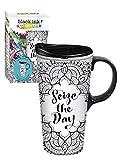 Cypress Home Seize the Day Coloring Book Ceramic Travel Coffee Mug, 17 ounces