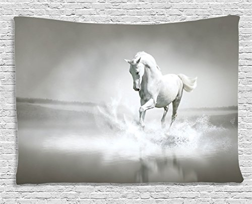 - Ambesonne Horses Tapestry, Wild Horse Running Through Water Dramatic for The Motivation of Life Art, Wide Wall Hanging for Bedroom Living Room Dorm, 60