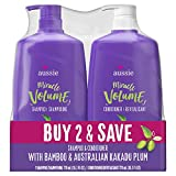 Aussie Miracle Volume With Bamboo & Kakadu Plum, Paraben Free Shampoo & Conditioner, 26.2 Fl Oz Dual Pack, 52.4 Fl Oz (Pack Of 2)