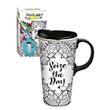 Cypress Home Seize the Day Coloring Book Ceramic Travel Coffee Mug, 17 ounces by Cypress