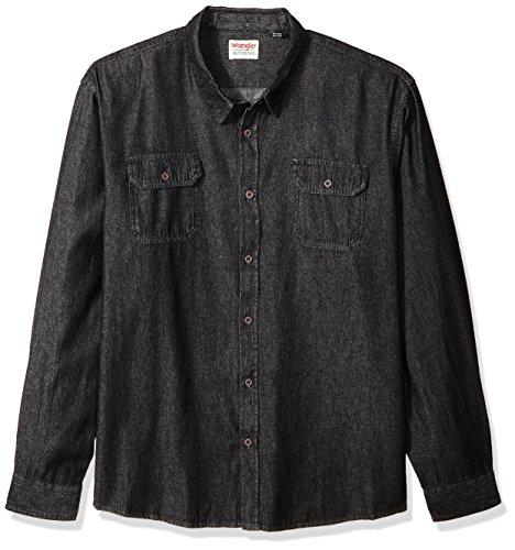 Wrangler Authentics Men's Big and Tall Authentics Big & Tall Long Sleeve Classic Woven Shirt, black denim, 3XL