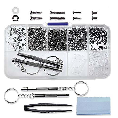 Seniore 510pcs Eyeglasses Repair Kit, 45 Kinds of Small Screws and Nose Pads Set,with 2 Screwdrivers for Sunglasses, Watch, Jewelry Fixing Universal ()