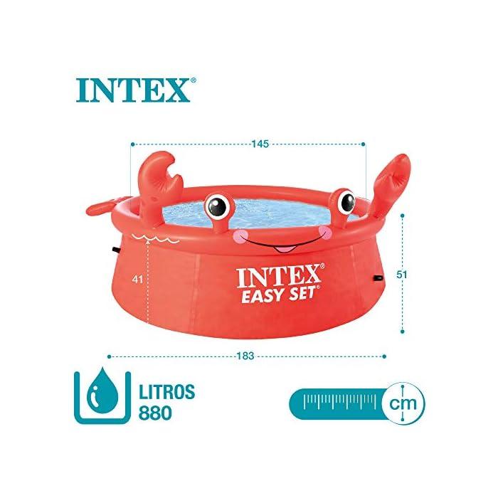 513S aUUzCL Piscina hinchable infantil INTEX gama Easy Set, formato redondo Medidas: 183x51 cm, capacidad para 880 litros Diseño: cangrejo con ojos y extremidades en relieve hinchable