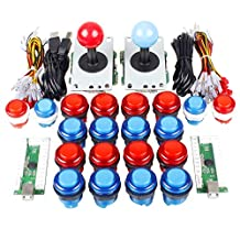 Arcade Joystick Buttons DIY Kit Parts USB Controller To PC 8 Ways Stick Control + LED Light Illuminated Push Buttons For Arcade Joystick Games Mame Multicade Colors Red + Blue