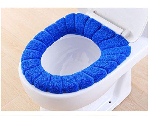 Pinleg Toilet Seat Cover Modern Comfortable Velvet Coral Standard Pumpkin Pattern Cushion Soft Washable Toilet Seat Cover Pads Toilet (Blue) by Pinleg (Image #1)