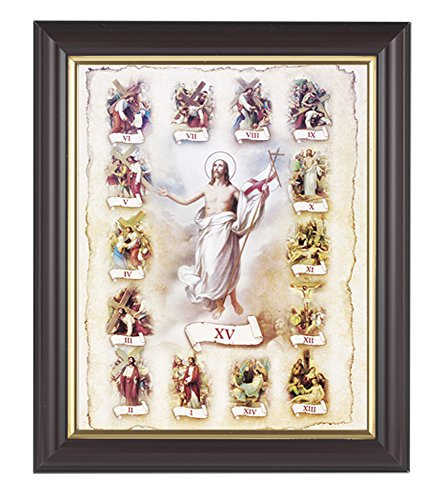Stations of the Cross Print in a Fine Detailed Channel Grooved Dark Walnut 10