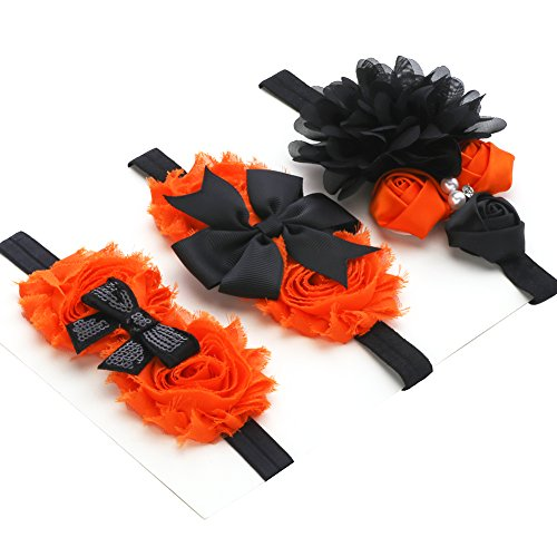 Lovemyangel Newborn Baby Halloween Headbands Black Sequins Hair Band for Girls - Pack of 3 (Black Chiffon set)