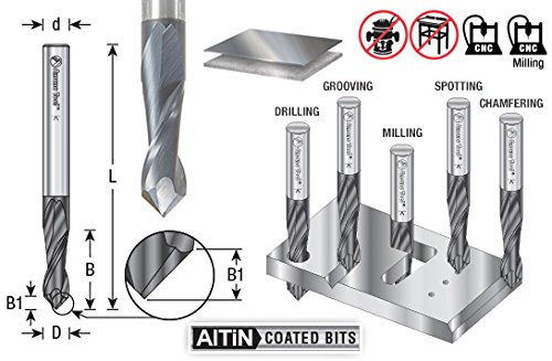 Amana Tool 51650 CNC Solid Carbide 90 Deg 'V' Spiral with AlTiN Coating for Steel & Stainless Steel 1/8 D x 1/2 CH x 1/8 SHK x 1-1/2 Inch Long Up-Cut Drill/Router Bit/End Mill