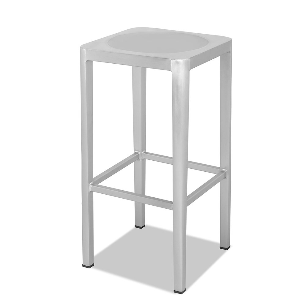 CHAIR DEPOTS Atlantic Aluminum Backless Bar Stool, Square Seat, Brushed Aluminum Finish, 2 Piece