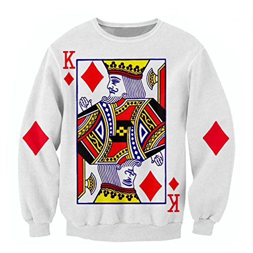 harajuku playing cards print 3D sweatshirts The King of Diamonds print hoodies