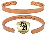 Copper Magnetic Bracelet for Arthritis Relief - Brushed Pure Copper, 8 Magnets, Adjustable Bangle - for Men and Women