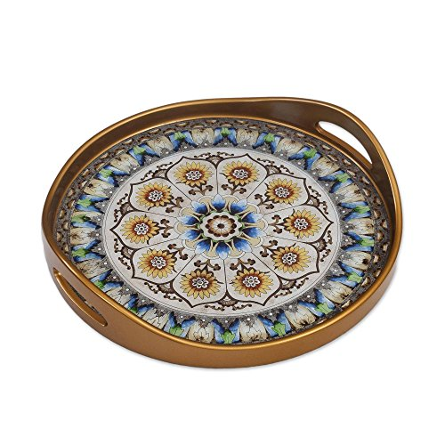 NOVICA Blue and White Reverse Painted Glass Round Tray, Blue Andean Mandala' - Painted Round Glass